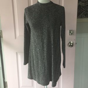 gray mock neck shift dress